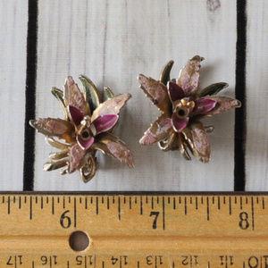 vintage purple enamel orchid flower earrings